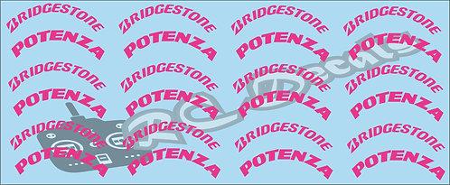 1/10 F1 Tires logos - Bridgestone - Pink