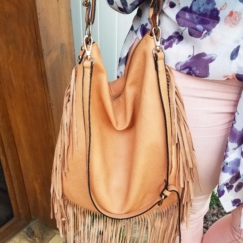 modeluxe dustypeach fringed bag