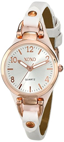 xoxo rose gold and white leather watch