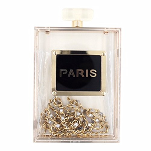 Transparent Paris Perfume Gold Chain Handbag