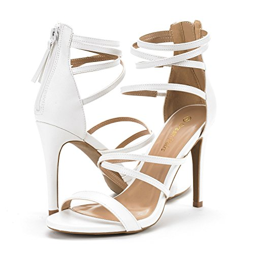 Dream Paris White Strappy Gladiator Heel Sandals
