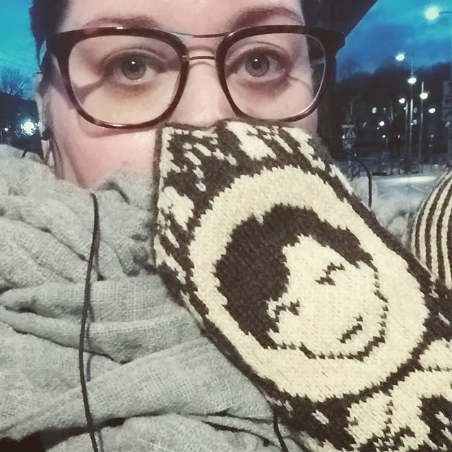 What_ Am I socializing two nights in a row_ And with my #johnlockmittens on_ Yes I am! _#knitting #k