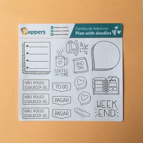 Cartela de Adesivos - Plan With Doodles