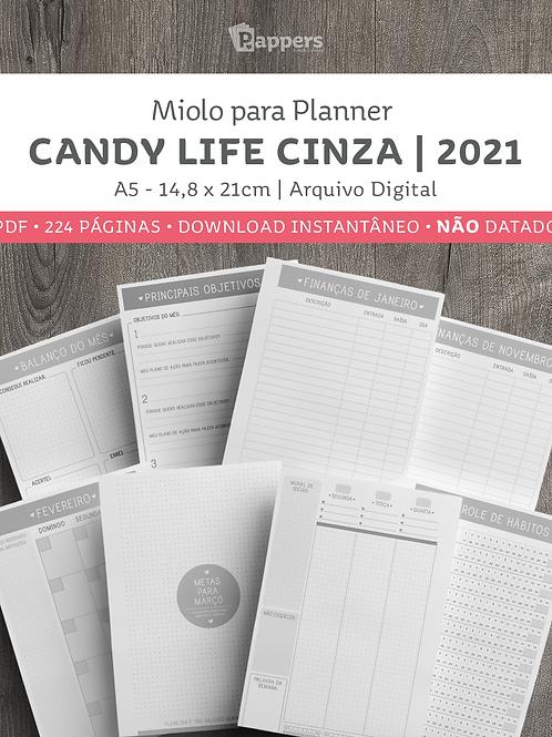 Miolo para Planner NÃO DATADO - Candy Life Cinza 2021