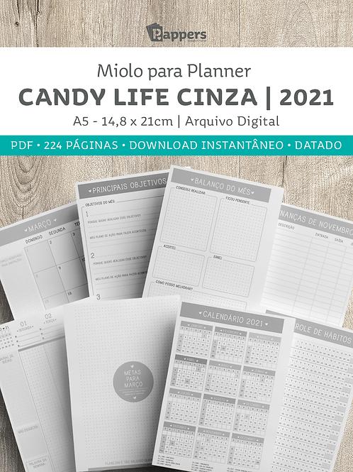 Miolo para Planner DATADO - Candy Life Cinza 2021