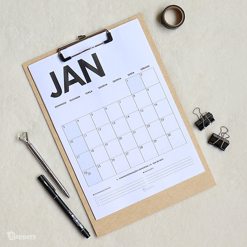 Calendário Planner Minimalistic 2021 (com prancheta!)