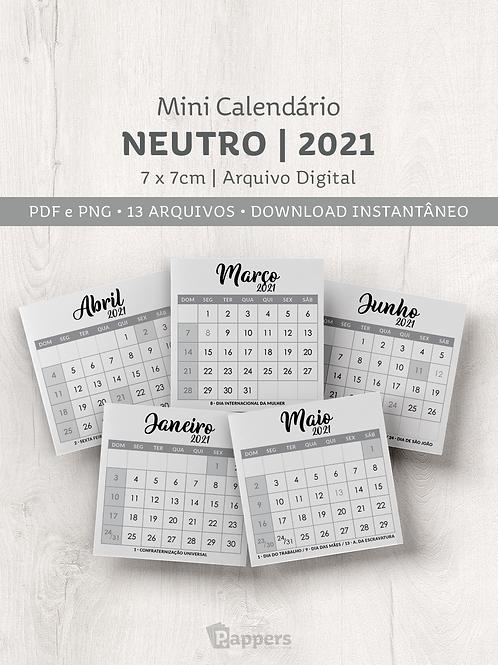 Arquivo   Mini Calendário Neutro 7x7cm