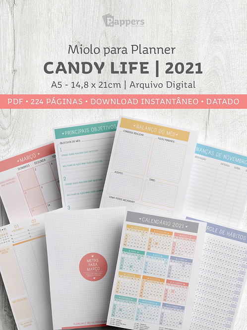 Miolo para Planner DATADO - Candy Life 2021