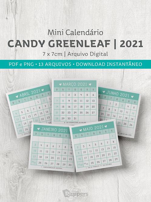 Arquivo | Mini Calendário Candy -  Green Leaf 7x7cm