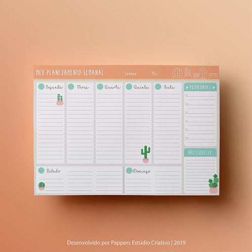 Desk Planner Semanal | Cute Cactus