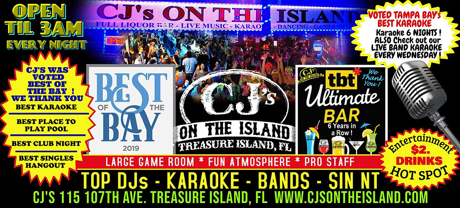 CJ's On The Island Hot Spot of Tampa Bay Beaches from Live Bands, The Best DJs and Top Karaoke