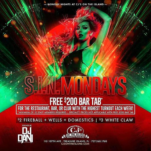 CJ's On The Island Treasure Island, FL  Monday Sin Night Free Bar Tab Top DJs.jpg