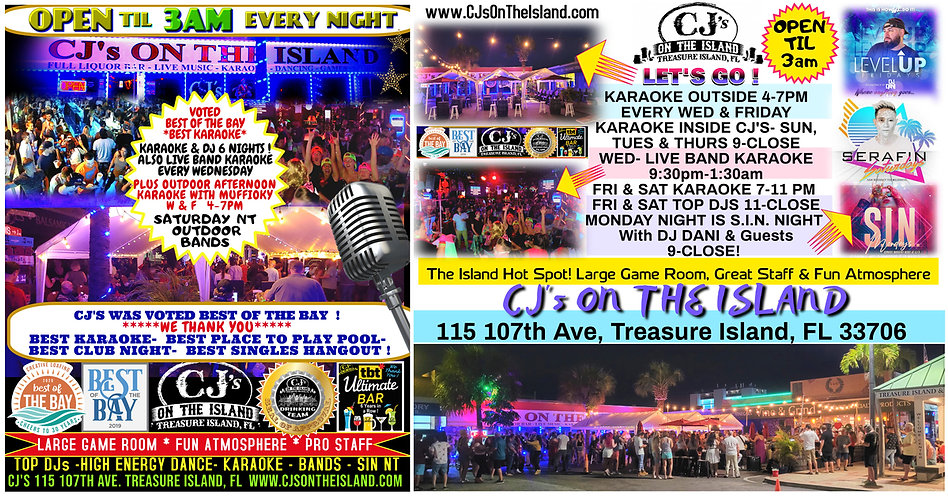 CJs On The Island is the hot spot in Treasure Island Fl located on the Gulf Of Mexico
