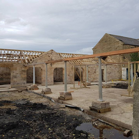 Barn conversion waiting for roof
