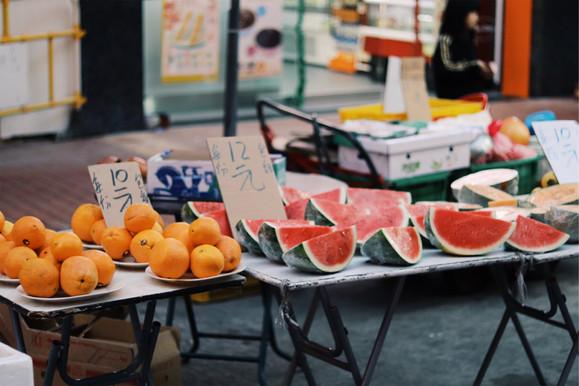 Fruitkraam op markt