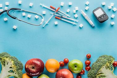 medical-equipment-sugar-cubes-and-fruits