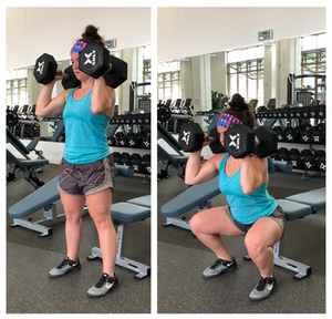 Racked Dumbbell Squats