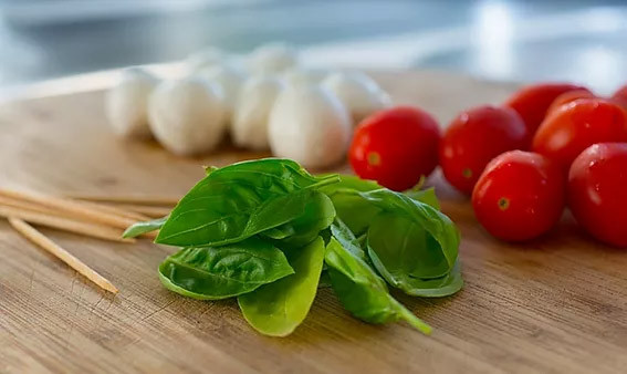 Basil with cherry tomatoes