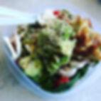 Greens, chicken, avocado, mushrooms, tom