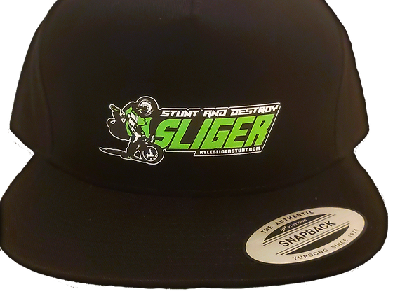 """STUNT and DESTROY"" BLK / green bottom HAT SNAP BACK"