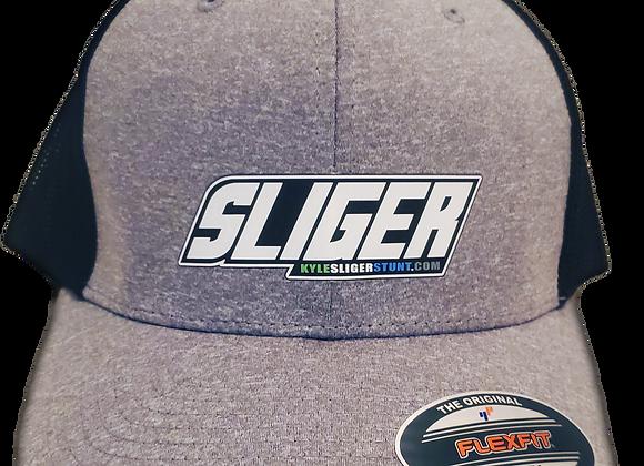 """SLIGER """"OG"""" grey/blk  FLEXFIT  grn/white/blue logo HAT / size med fit"""