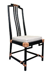 BLACK LEATHER TIES DINING CHAIR BCH001.j