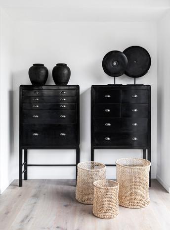 Black Stone Disks & Terracotta Pots.  Architecture - Tzachit Tshuva