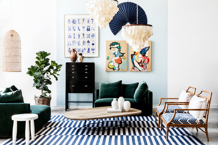 Velvet couch, Teak Liam chairs & Natural Shell Light Fixture