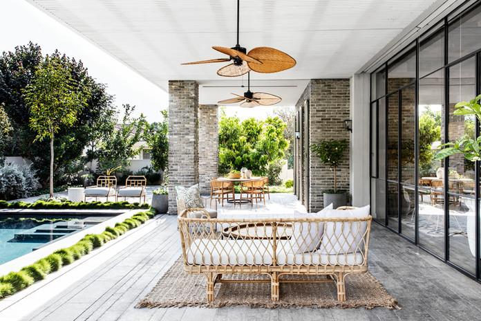 Mix of Teak, Rattan & Bamboo Seating Interior Design - Nirit Frenkel