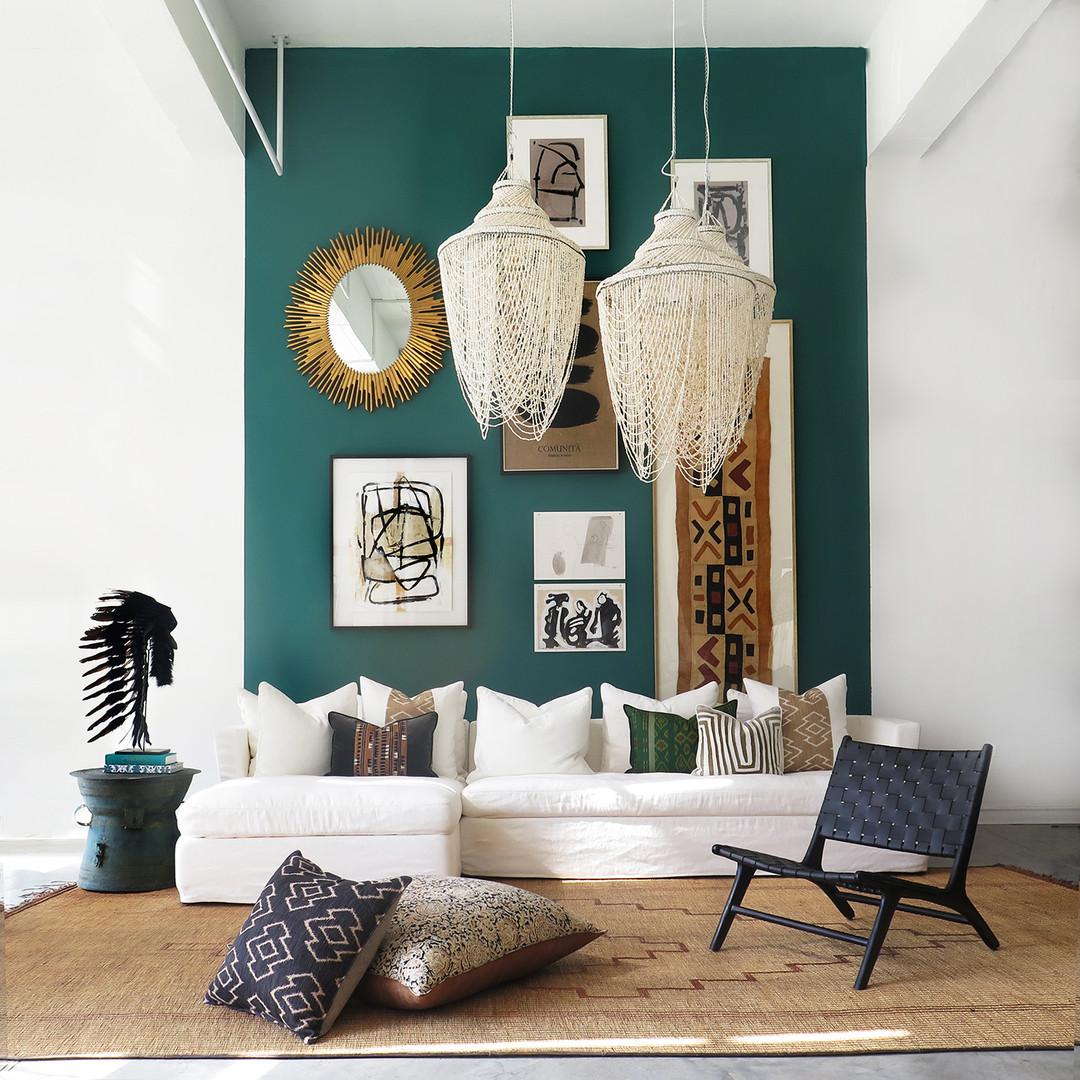 Black Leather Weave Lounge Chair, Rain Drum & Naturel Shell Chandelier