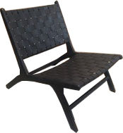 BLACK WOVEN LEATHER LOUNG CHAIR  BCJ006.