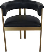 BLACK LEATHER GOLD DECO CHAIR CBS002 58w