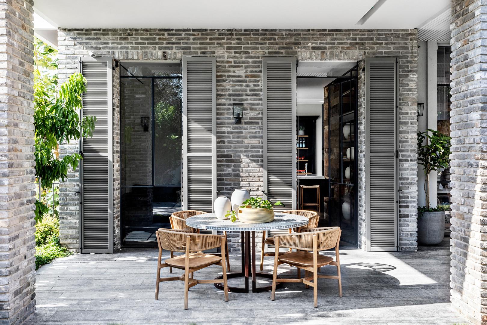 Teak & Paper Chairs & Inlay Table.  Interior Design - Nirit Frenkel