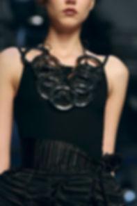 Black mobile Necklace, handmade fashion jewellery  by the Greek fashion designer Daphne Valente