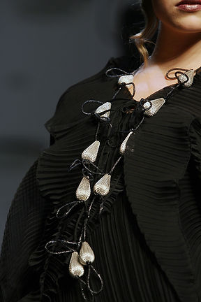 Floating Black and Silver Necklace, handmade fashion jewellery  by the Greek fashion designer Daphne Valente