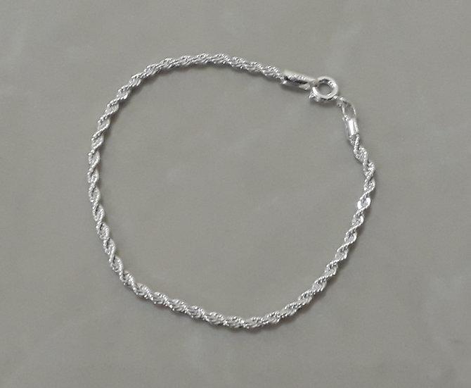 Pulseira cordão folheado a prata