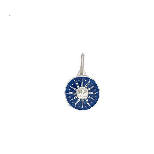 Pingente Sol com Resina Azul Prata