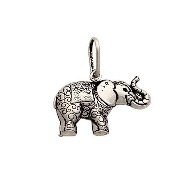 Pingente Elefante duplo em Prata 925