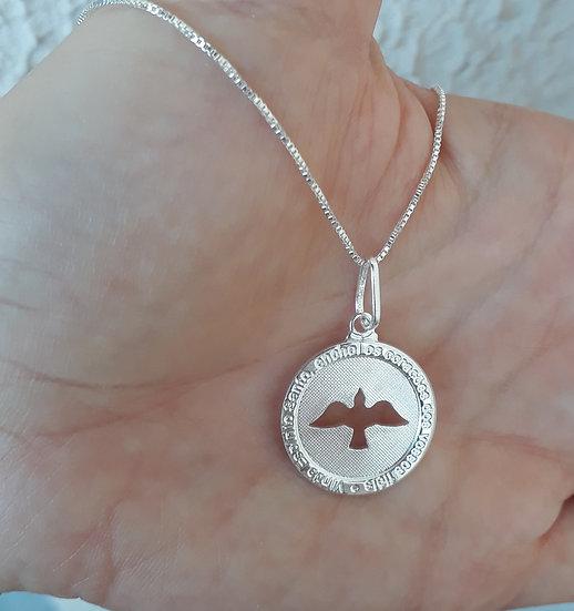 Colar Medalha Espírito Santo Prata 925