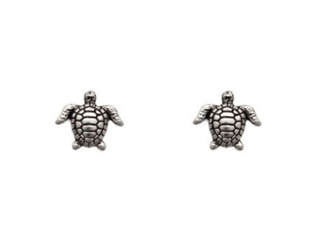 Brinco tartaruga mar envelhecida Prata 925