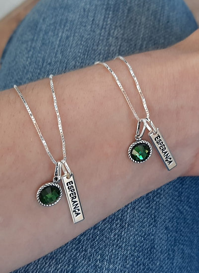 Cordão Esperança Pedra Verde