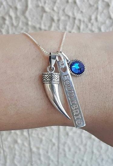 Cordão Patuá Equilíbrio Azul Prata 925