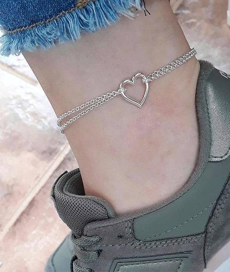 Tornozeleira coração Prata 925