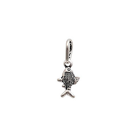 Pingente Mini Peixe Prata 925 Envelhecida