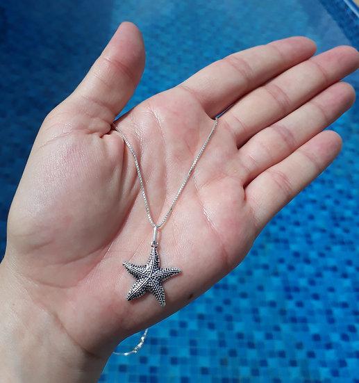 Colar Estrela Mar Prata Envelhecido