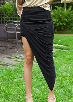 Draped knit skirt