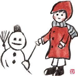芋版画「雪だるま」