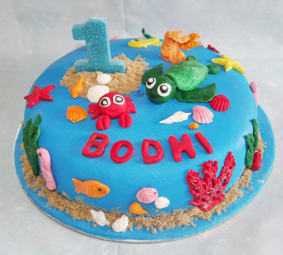 Sea-themed cake