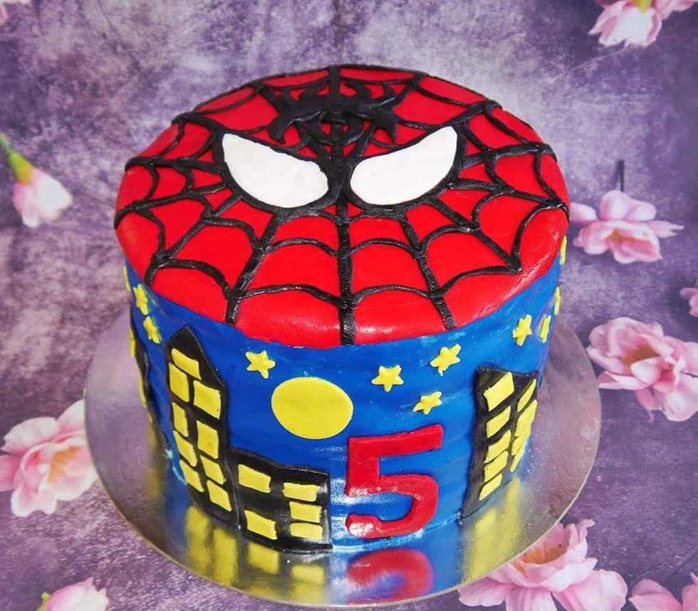 Spiderman themed vanilla strawberry cake