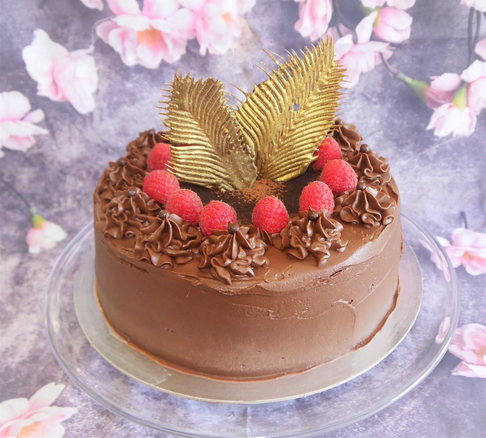 Vegan chocolate ganache and blackcurrent cake.